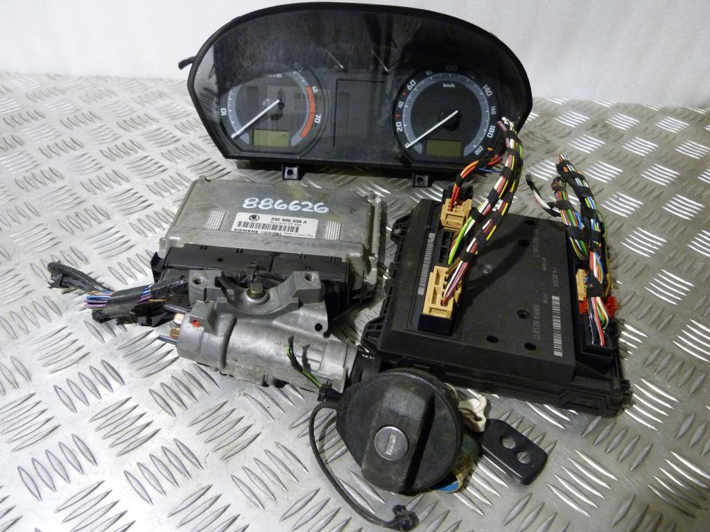 Riadiaca jednotka 03e906033a (komplet do štartu), prístrojová doska 6y0920861m, spínacia skrinka 4b0905851c, modul komfortu 6q1937049d,  Škoda Fabia I 1,2 HTP r.v. 1999-2007 kód motora AZQ