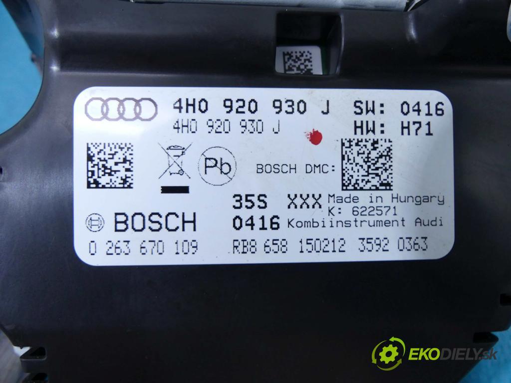 Audi A8 D4 2009-2017 4,2.0 tdi V8 351KM automatic 258 kW 4134 cm3 4- prístrojovka/ budíky 0263670109 (Prístrojové dosky, displeje)