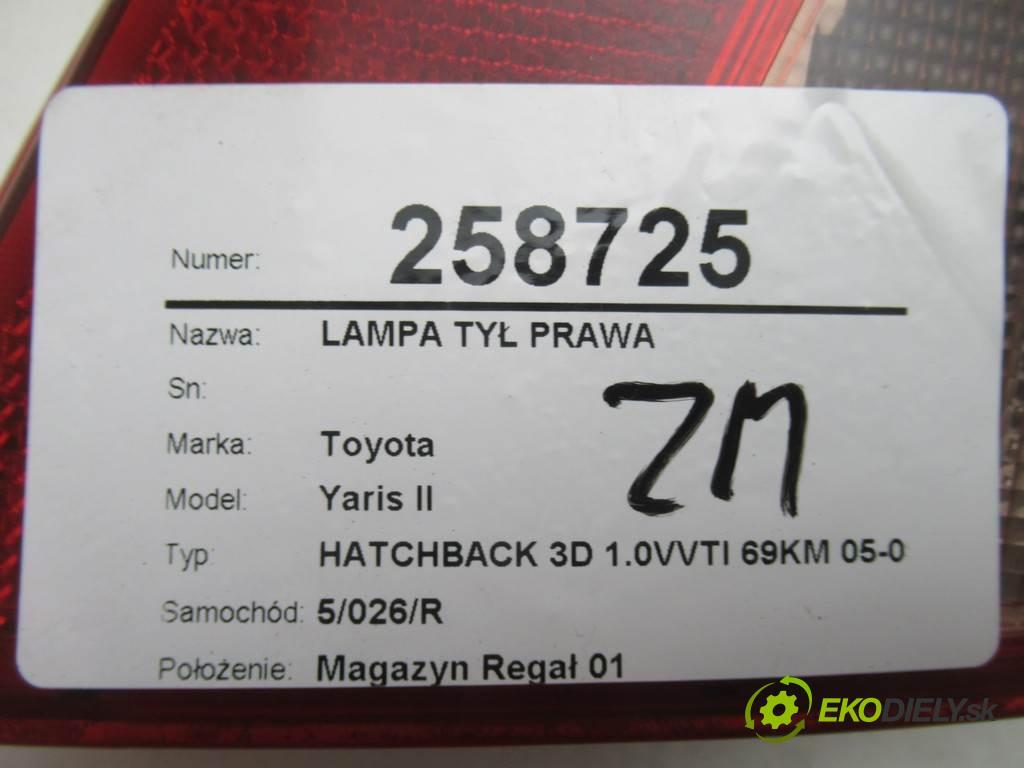 Toyota Yaris II  2007 51KW HATCHBACK 3D 1.0VVTI 69KM 05-09 1000 Svetlo zad pravá  (Ostatné)